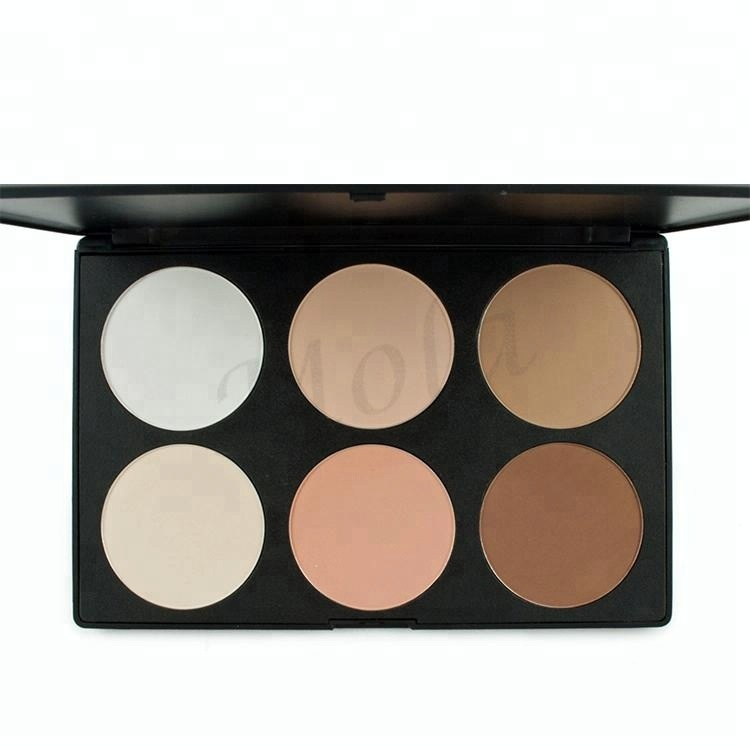 No brand wholesale makeup 6 color high pigment highlighter palette, 6 colors