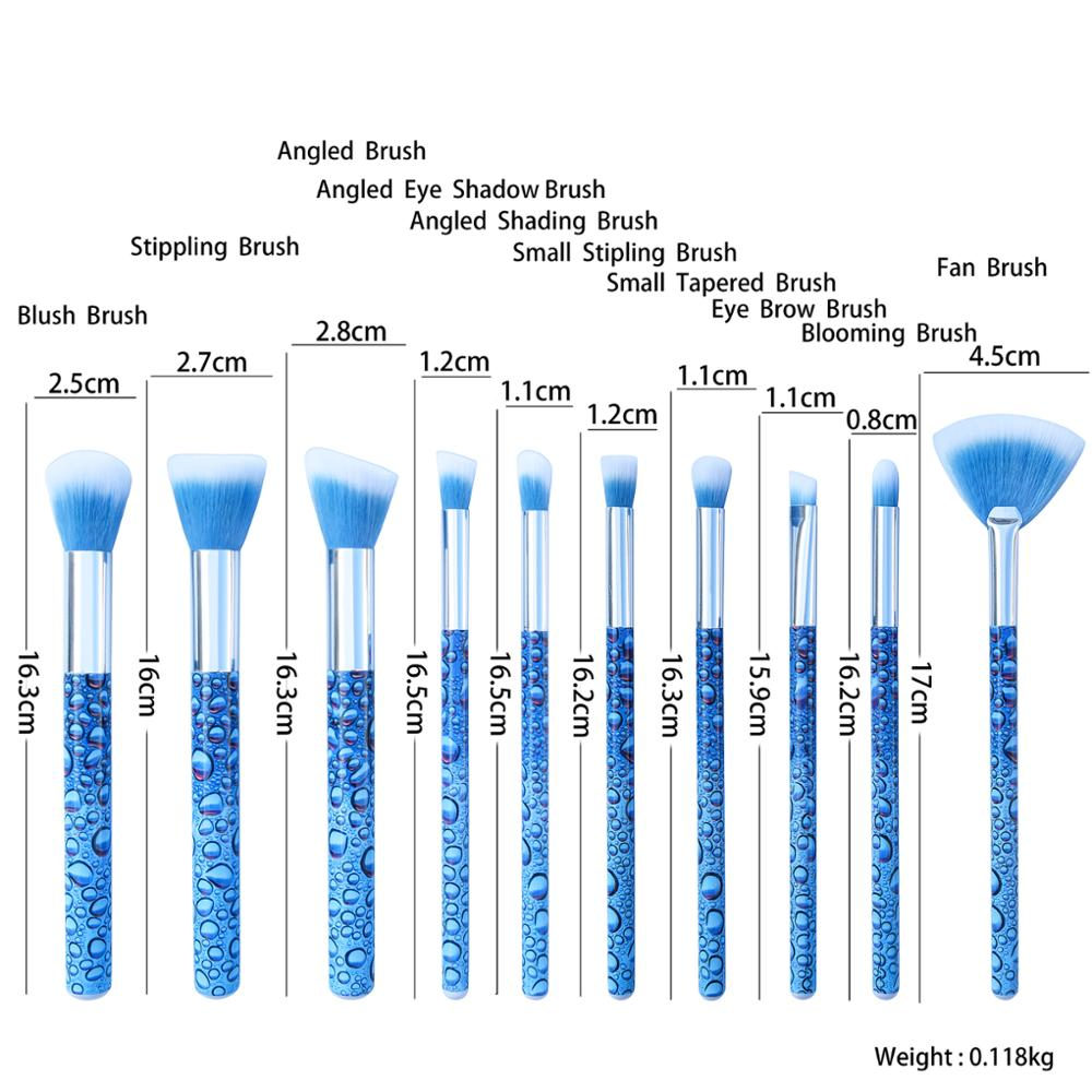 2018 Professional 10pcs cute sea blue plastic handle soft synthetic hair wholesale Makeup Brushes private label makeup brushes