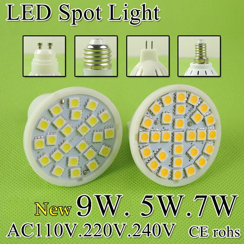 A Bright MR16 LED Lamp LED Spotlight 5W 7W 9W Bombillas E27 E14 GU10 GU5 3