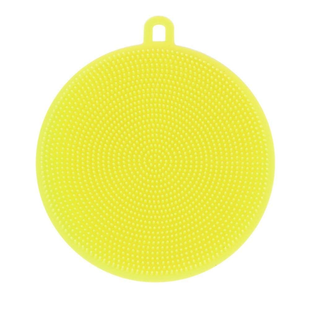 Washing Scrubber, Hunzed Dish Washing Silicone Sponge Scrubber Brush for Washing Dishes Kitchen Cleaning antibacterial Tool Washing Scrubber (yellow)