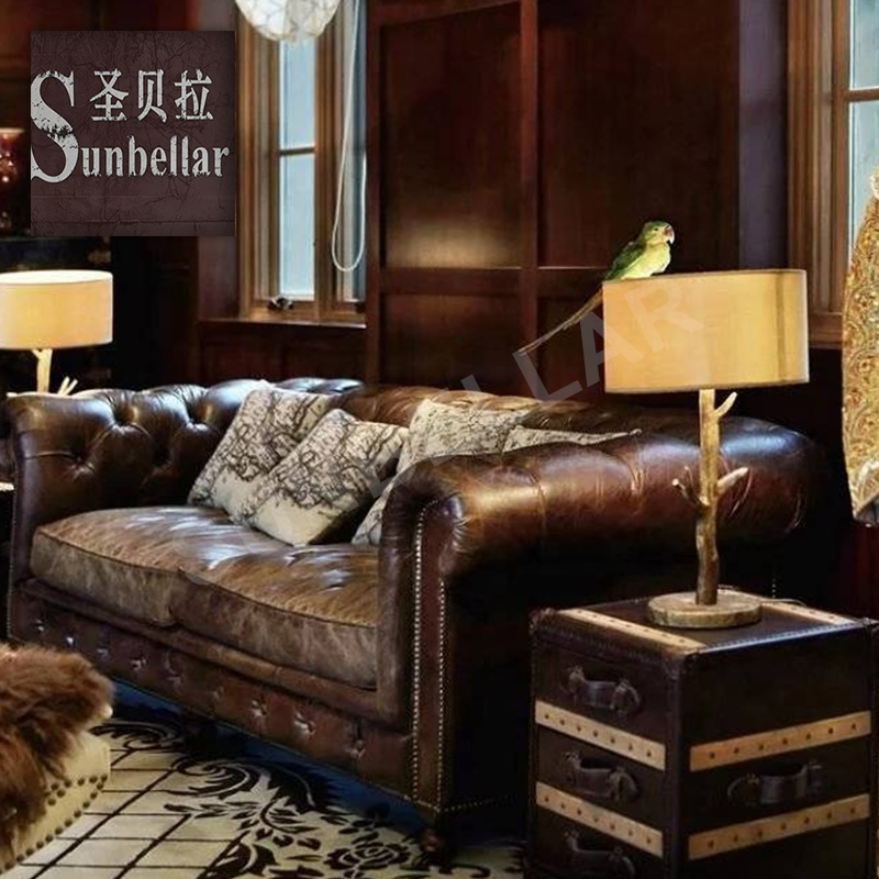 Genuine Leather Chesterfield Sofa Set