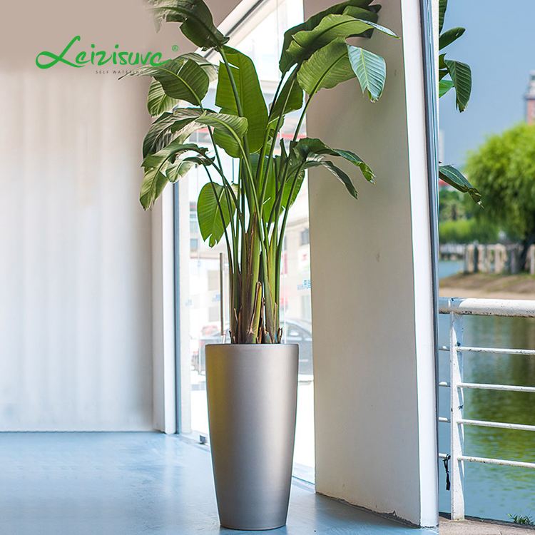Round indoor plastic flower pot outdoor tall wholesale planters and pots self watering planters