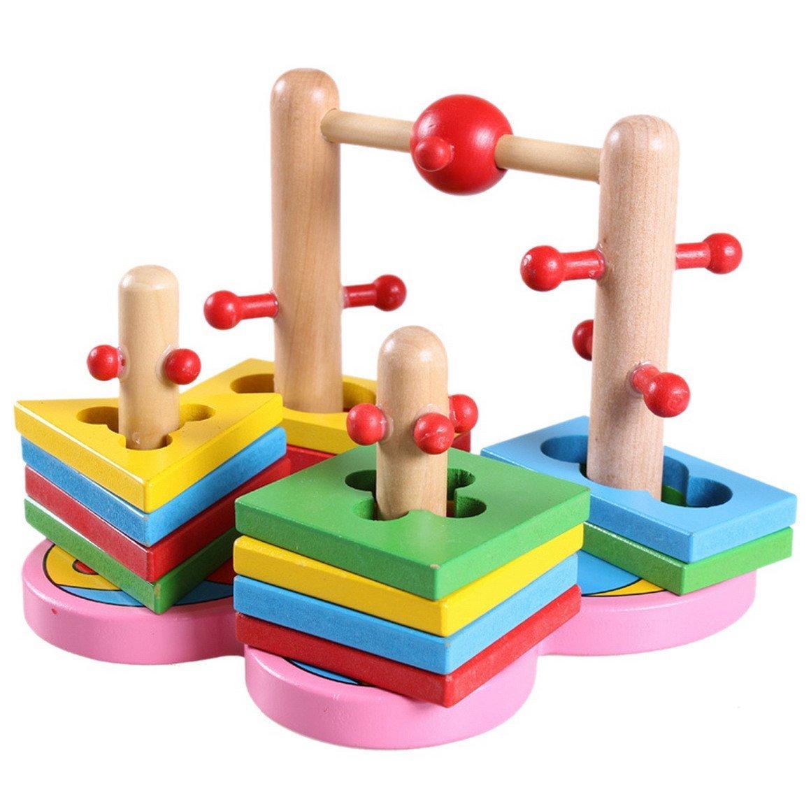 Aivtalk Children Kids Baby Wooden Stacking Shapes Sorting Column Building Blocks Educational Toy