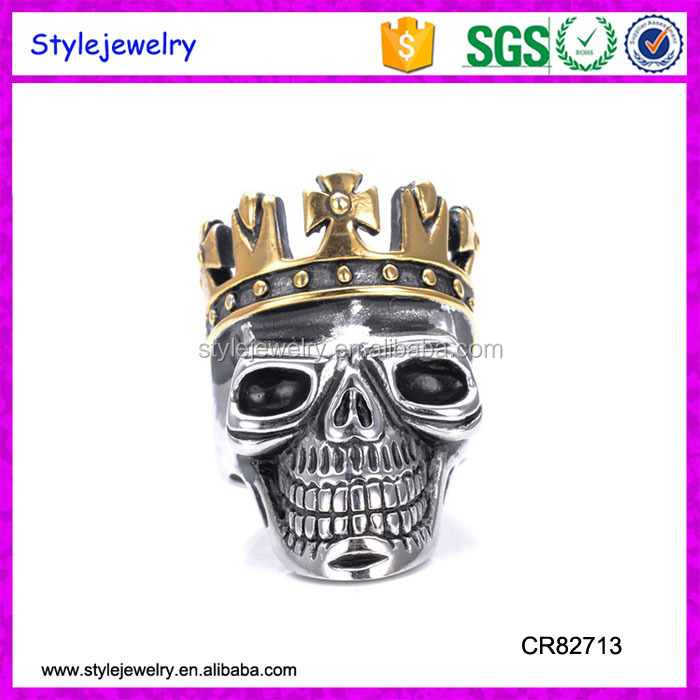 CR82713 Halloween Skull Stainless Steel Simulated Silver Gothic Crown Rings For Men