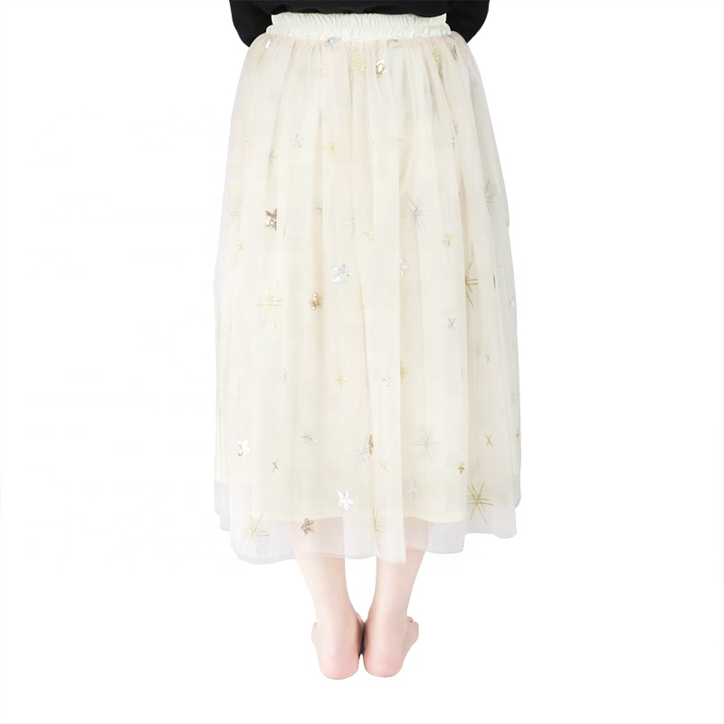 High quality ivory reflective women spring long tulle maxi skirt