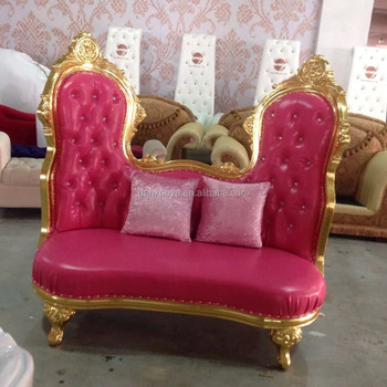 Two Seater Gold Wooden Frame Pink Upholstery Love Sofa For Bride And Groom