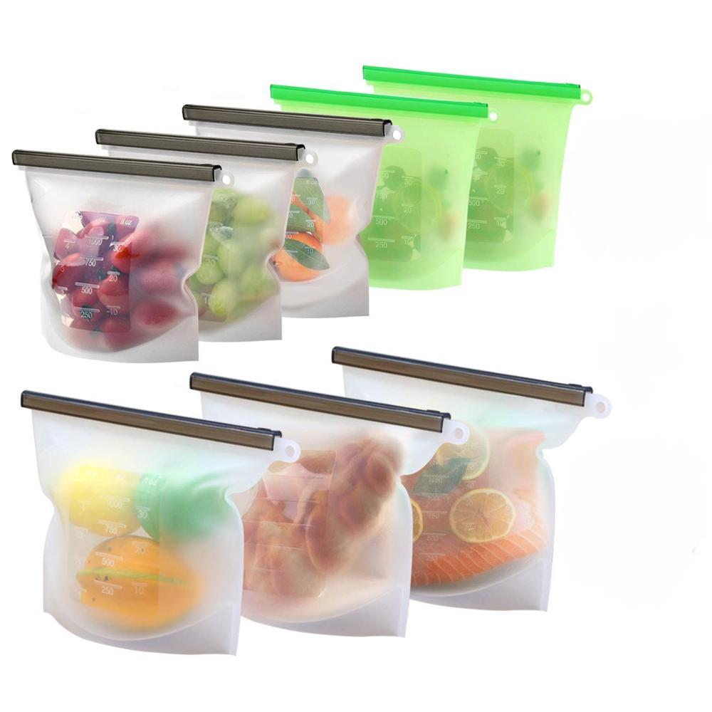 Custom Logo Reusable Silicone Food Vacuum Storage Preservation Freezer Bag