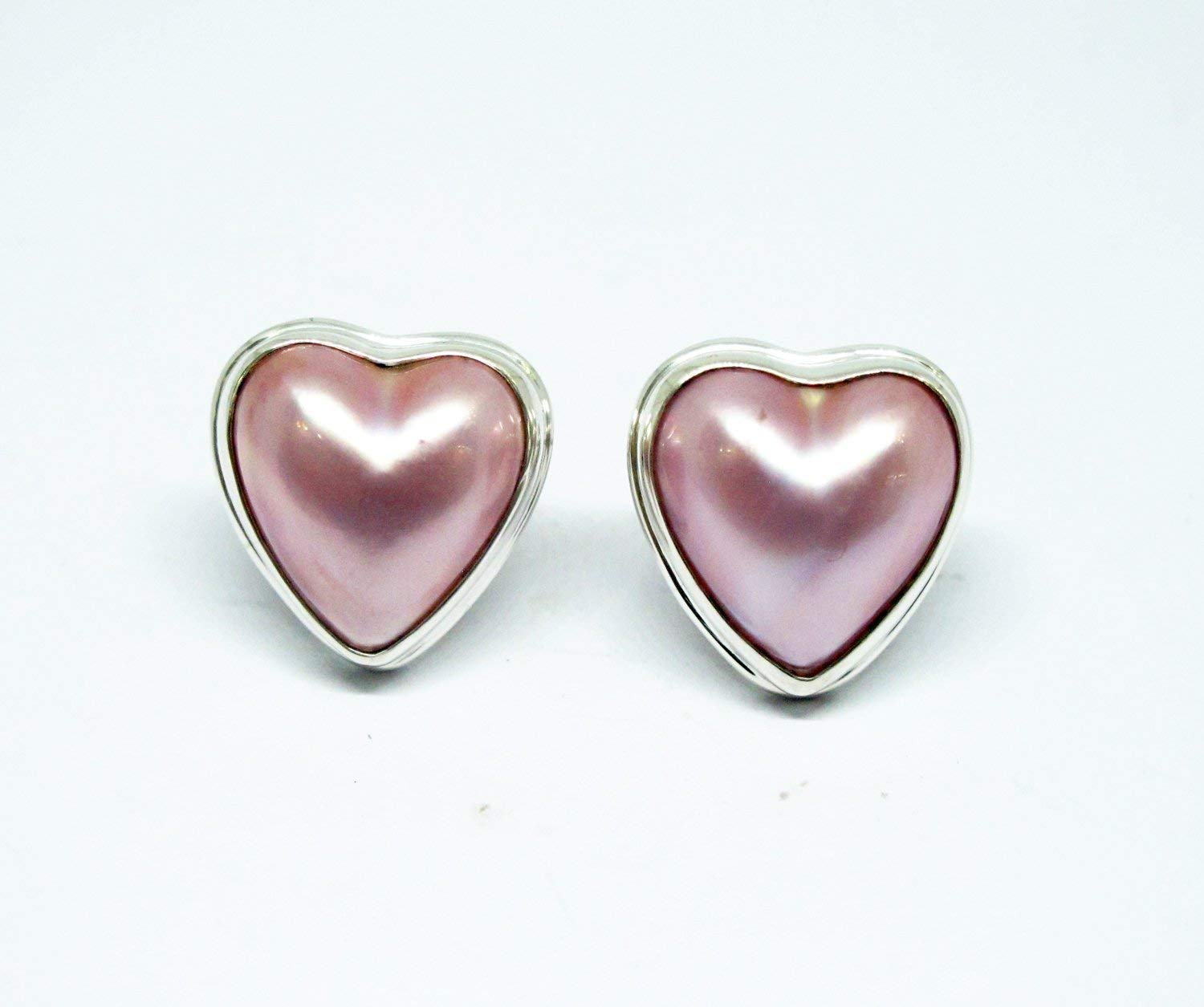 mabe pearl stud earrings with 925 sterling silver, heart shape mabe stud earrings, pink mabe pearl earrings,