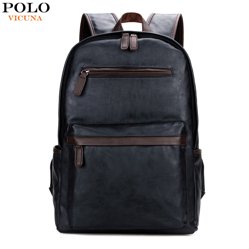 VICUNA POLO 2018 hot selling durable mens pu leather fashion backpack for <strong>school</strong>