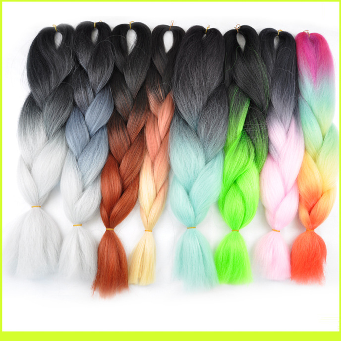 World Hot Selling Fold 24inch 168g Ombre 2 tone color Black and Bug Synthetic jumb brading hair extension