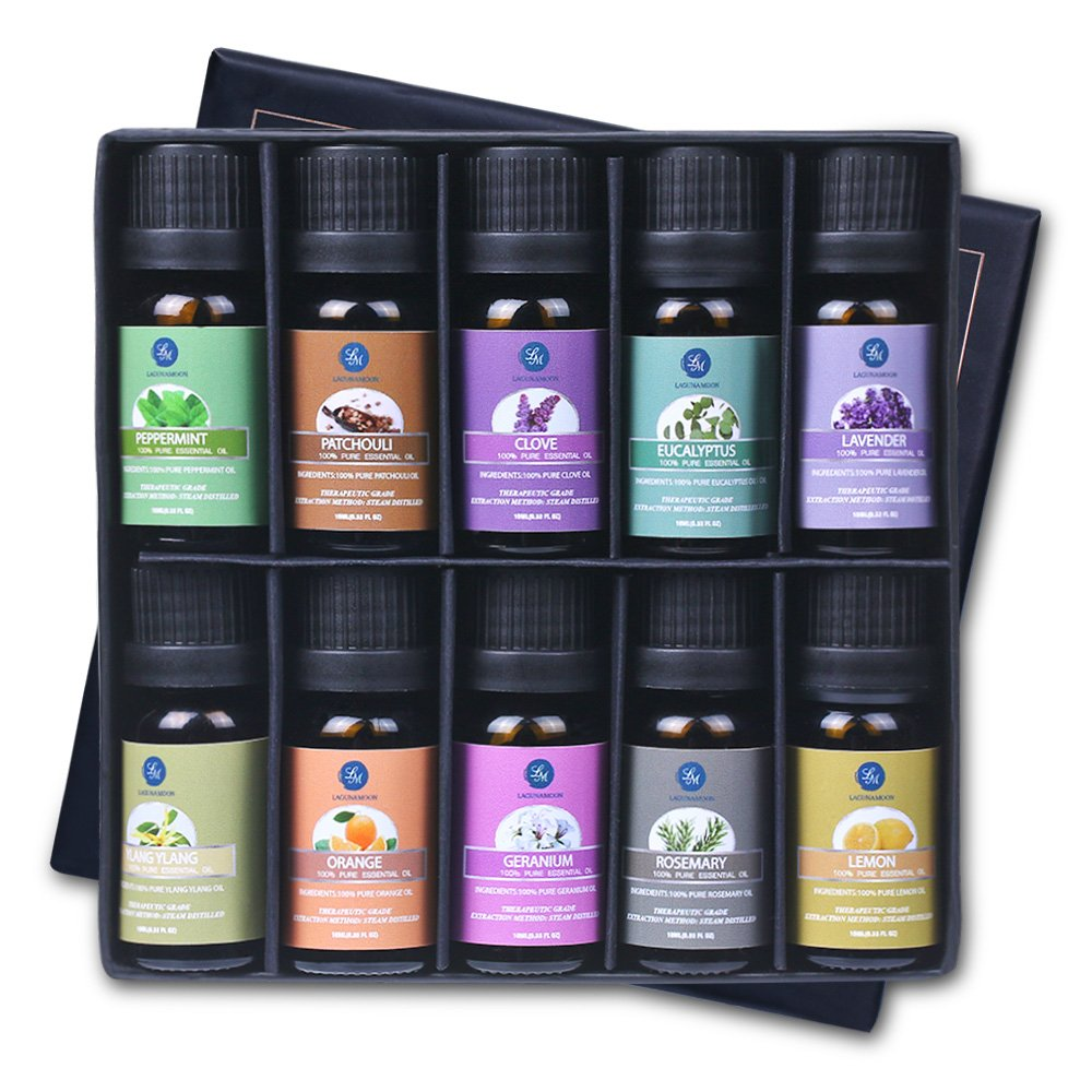 Lagunamoon Essential Oils,Top 10 Pure Aromatherapy Oils Gift Set- Includes Lavender Orange Peppermint,Lemon,Rosemary Essential Oil