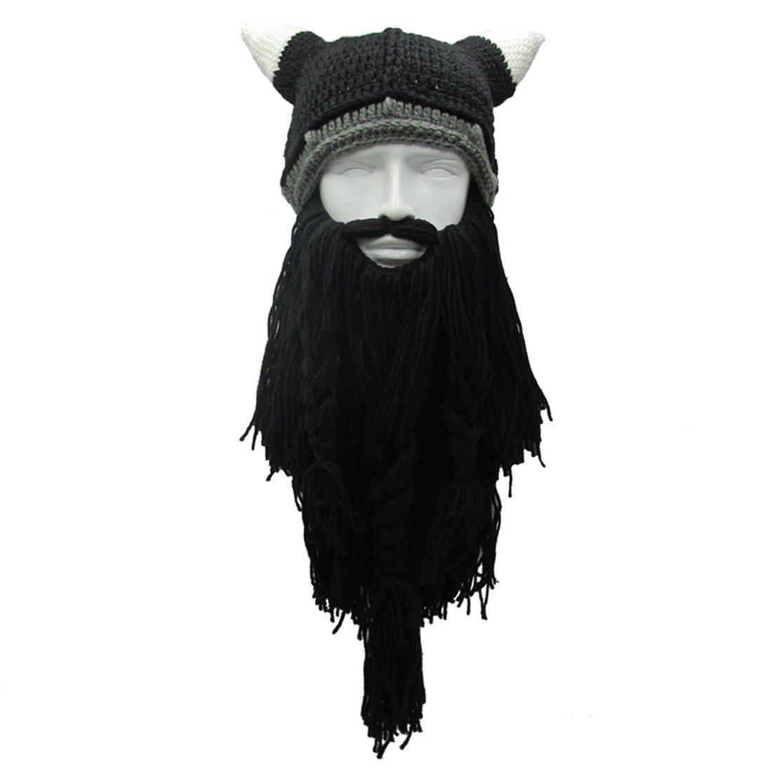 aae2c16015e ZGZY Beard Hat Beanie Knit Pirate Original Barbarian Warrior Knit Beard Hat  Halloween Viking Horns Bearded
