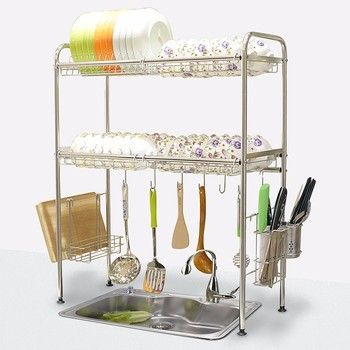 2 tier over the sink stainless steel dish drainer rack - Rack para platos ...