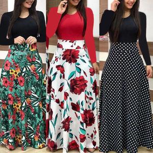 Women Elegant Floral Print  Patchwork Maxi Dress 2018 Casual Longt Sleeve Vintage Boho Beach Long Dress Vestidos