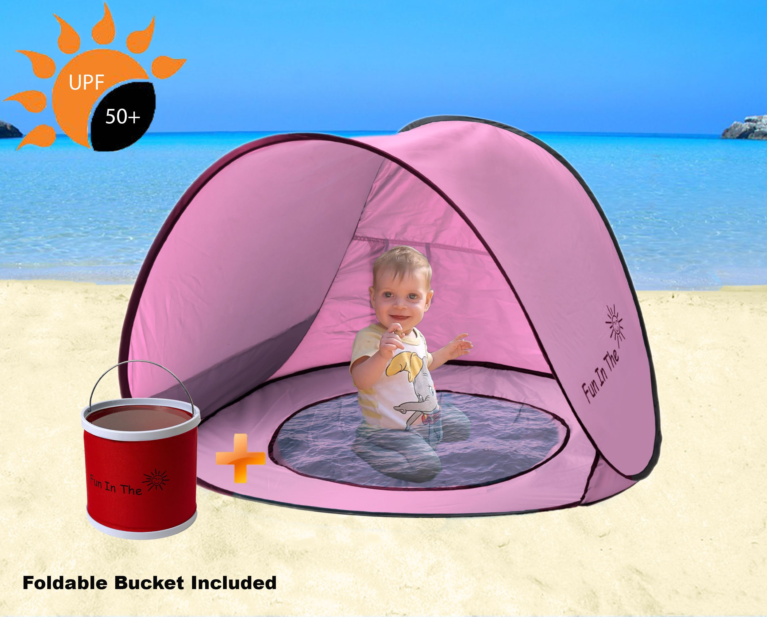 Baby Beach Tent,Oummit Pop-up Baby Tent with Beach Pool Automatic Foldable Portable Tent Sun Protection Anti UV Very Suitable for Beach Holidays.