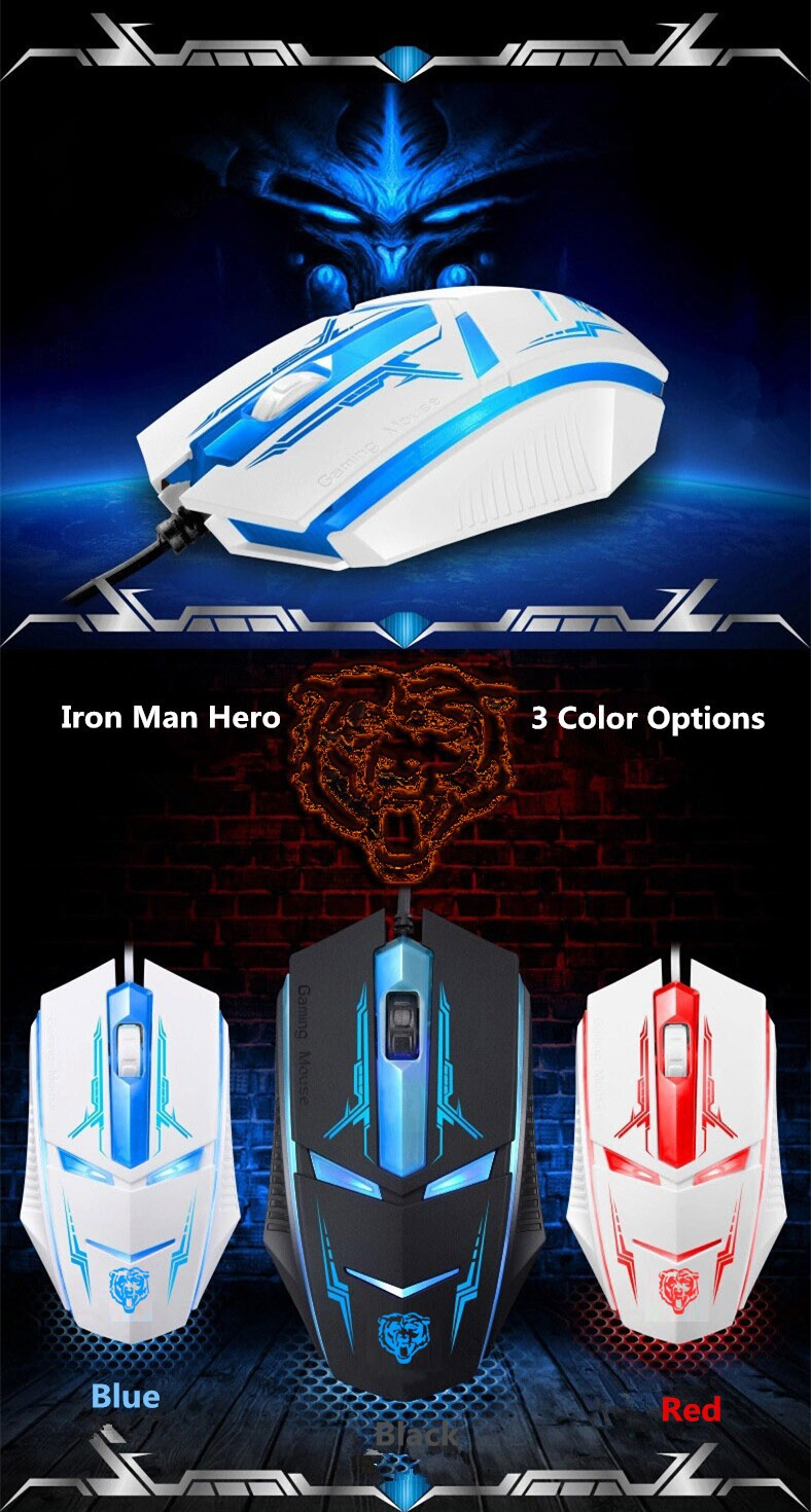Shop 2016 New Iron Man Hero Gaming Mouse Usb Wires Computer