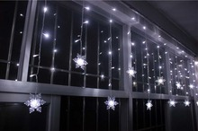 3 5M 100SMD 16P font b Snowflake b font LED Curtain String Lights Lamp New Year