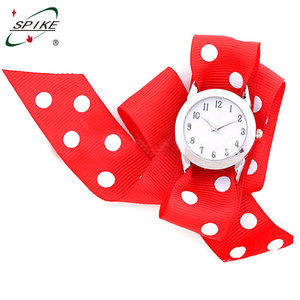 Stylish festiall item ladies ribbon watch interchangeable band wholesale cotton belt metal watch ladies ribbon watch
