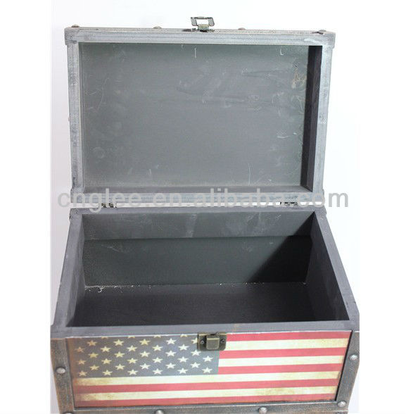 decorate national flag wooden home storage box big size