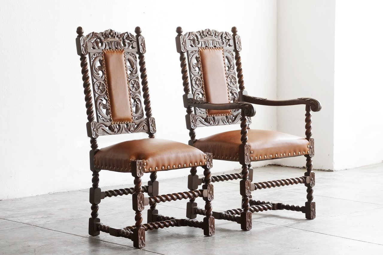 Pair of Antique Jacobean Style Mahogany Chairs