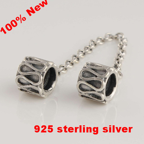 dd82371f4 Authentic 925 Sterling Silver Bead Screw Core Lock Safety Chain Charm  European DIY Jewelry Findings Fits