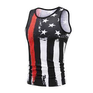 Custom gym sport 3D printing vest cheap loose fit sublimation print tank top