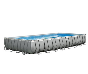 Intex 28364 Inflatable Outdoor Above Ground Metal Frame Adult Plastic Swimming Pools