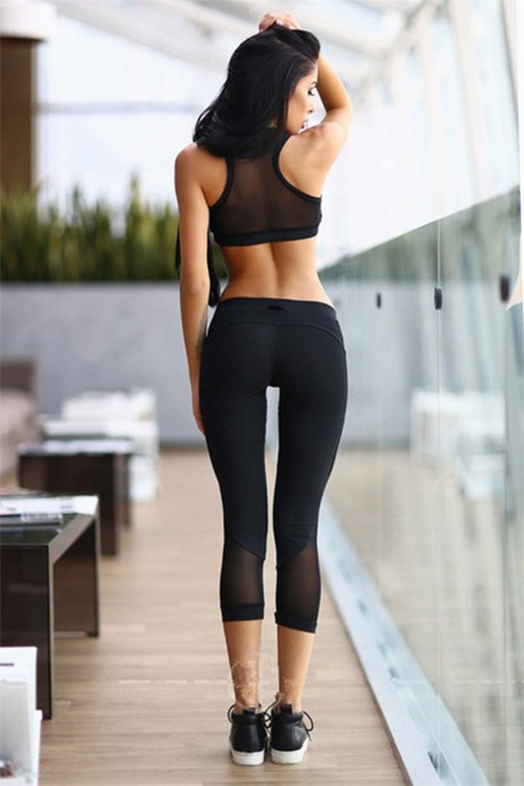The latest pure color wrapped chest vest stitching pants yoga sports suit