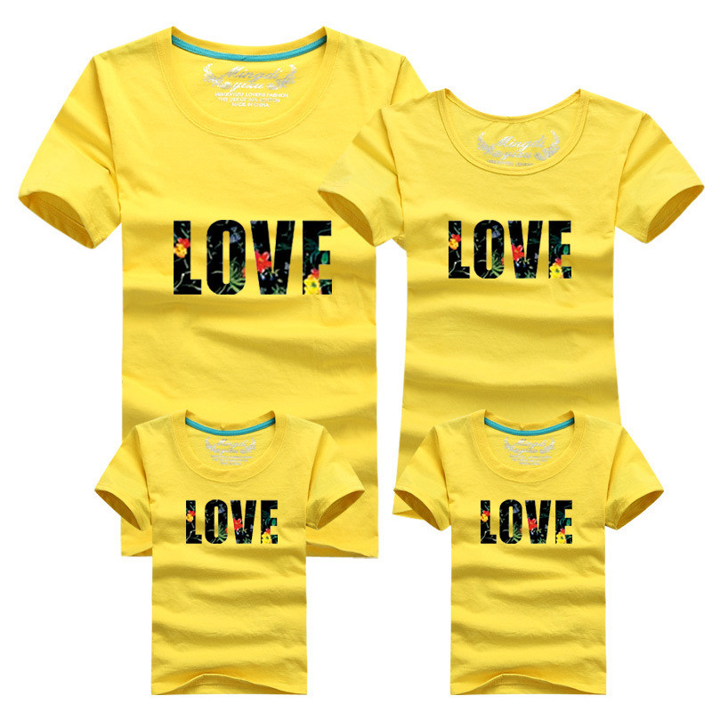 1psc 2016 Fashion Dad Mon Daughter and Son Cartoon T shirt 12 Clors For Korean Family