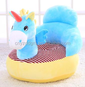 2017 Blue Horse Plush Baby Animal Sofa Chair Stuffed Soft Plush Toys