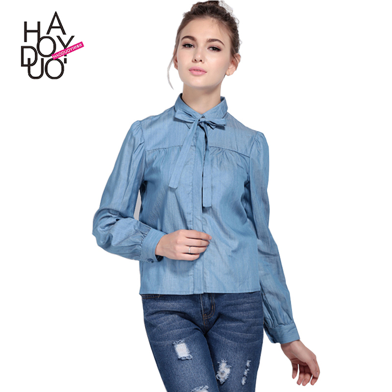 HAODUOYI Women Solid Long sleeve Shirt Peter Pan Collar Preppy girls Blouse Autumn female casual shirt for Wholesale