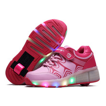 2016 summer Kids LED Heelys wheelys Boys Girls Roller Skates Shoes Sneakers With Wheels Zapatillas Con