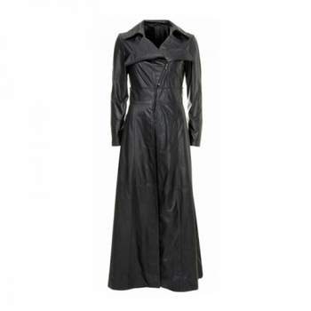 Full Length Ladies Leather Long Coat,Leather Long Coat For Women ...