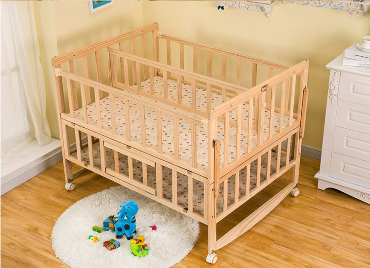 Hot Ing Wooden Twin Baby Furniture Cribs With Wheels And Luxury Cradles Crib New Style For Twins