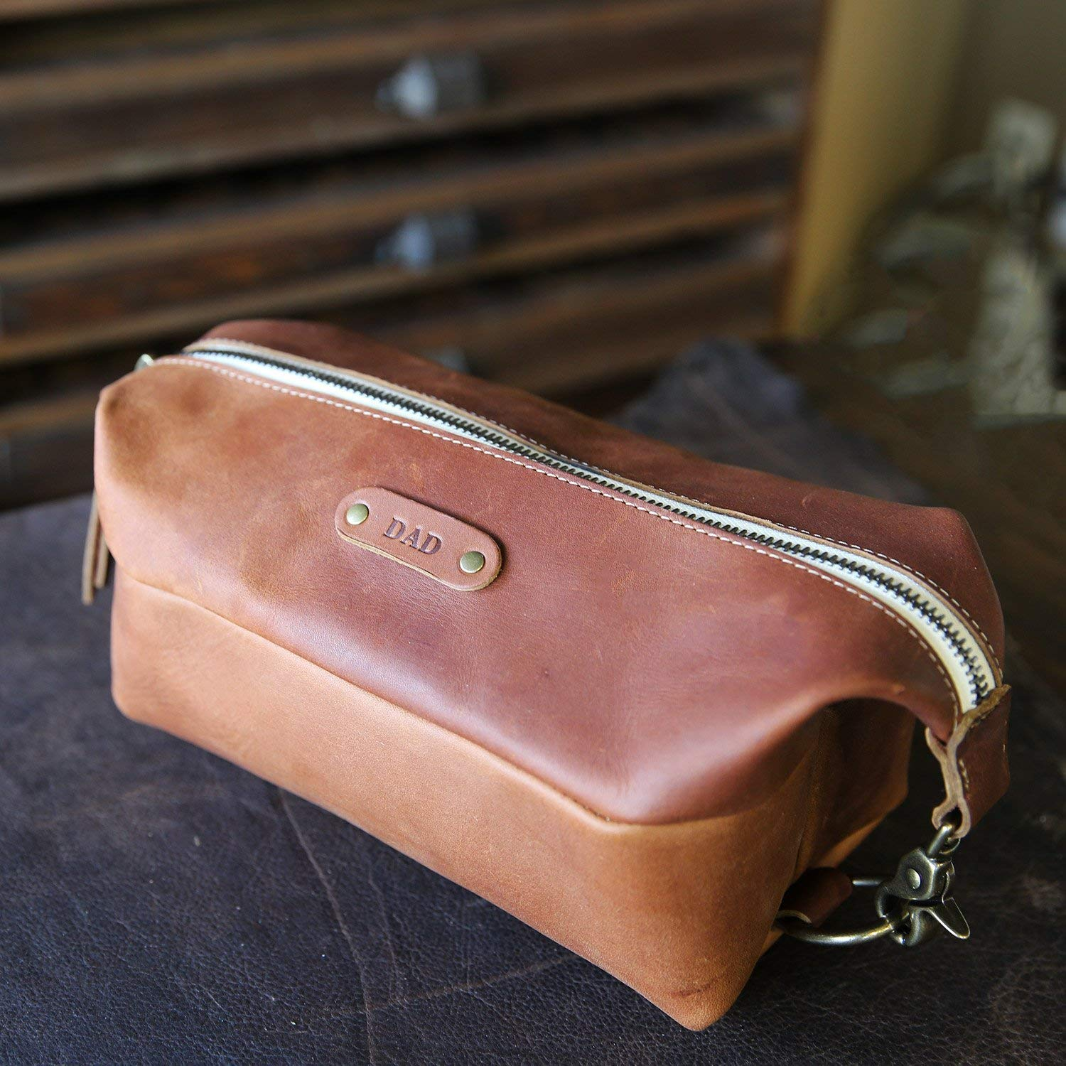 Get Quotations · The Dopp Bag - Personalized Brown Fine Leather Shave Toiletry  Bag Travel Bag With Zipper 486cba934f38a