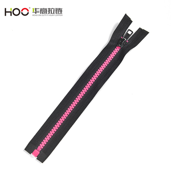 Many years factory 5# open end pink fluo teeth plastic zipper