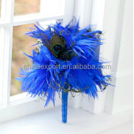 High Quality Blue Flower Feather Bouquet For Wedding Decoration Peacock Feather Bouquet