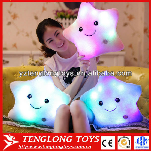Star shaped rainbow bright light LED pillow