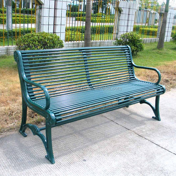Wrought Iron Garden Bench Tubular Steel Outdoor Furniture Guangzhou