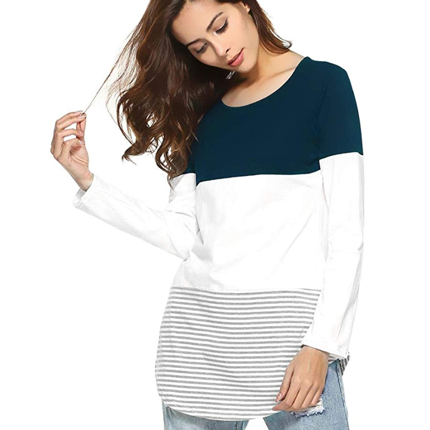 Mnyycxen Women's Casual Long Sleeve Striped Patchwork Tunic T Shirt Blouse Tops