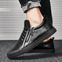 Genuine Leather Casual Shoes Male Zip Men Outdoor Fur Warm Thermal Winter