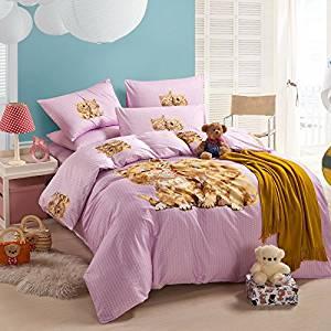 Puppy Kiss Kitty Pink Bedding Duvet Cover Set Cartoon Bedding Kids Bedding Girls Bedding Teen Bedding Gift Idea, Full Size