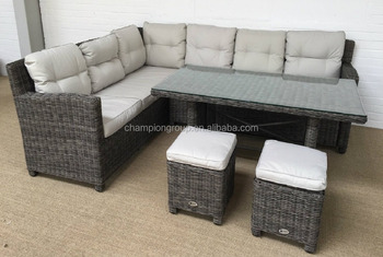 Whole Rattan Garden Furniture Corner Sofa Dining Table And Stool Set