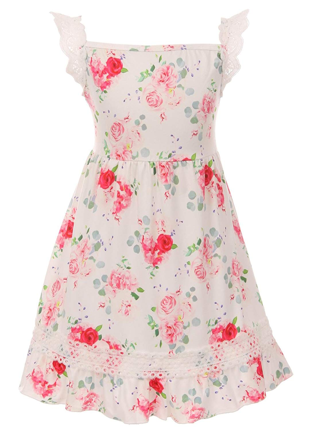 8d14cf24520 Get Quotations · Little Girls Lovely Sleeveless Lace Floral Ruffle Party Flower  Girl Dress 2T-8