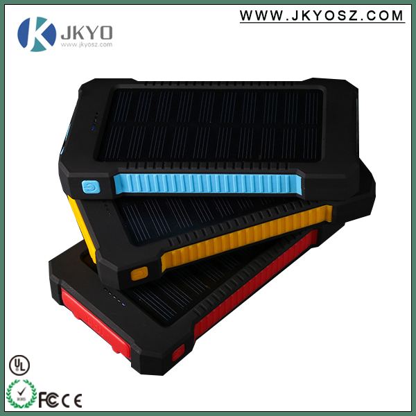 Colorful Water/dirt/shock proof dual usb Portable Solar Power Bank with LED light
