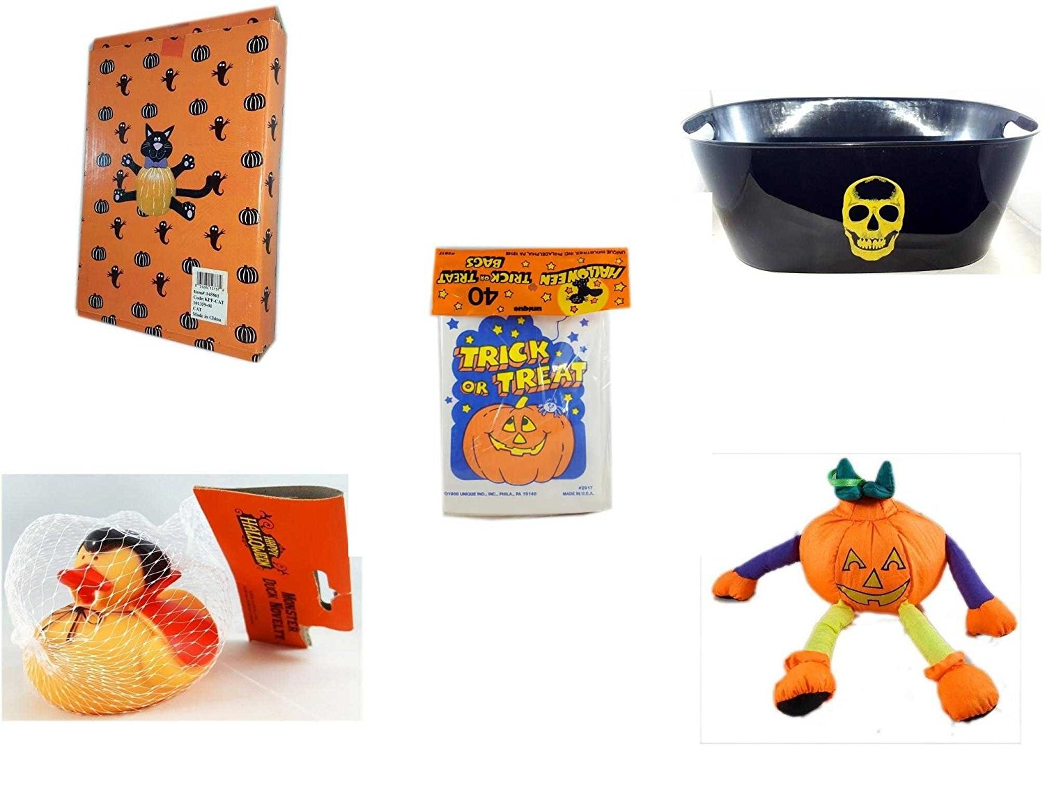 Halloween Fun Gift Bundle [5 piece] - Halloween Cat Pumpkin Push In 5 Piece Head Arms Legs - Black With Skeleton Oval Party Tub - Halloween Trick or Treat Bags 40/ct - Happy Halloween Monster Duck N