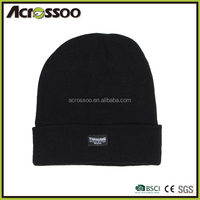 High quality black thinsulate knitting hat,black plain thickness cuffed beanie