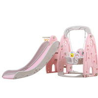 outdoor garden children plastic slide and swing toys