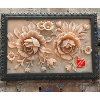 Marble Relief Sculpture With Flower Carving - Buy Marble Relief ...
