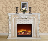 Antique French Style Imperial Fireplace, Gorgeous Elaborate Hand Painted Fireplace, Electric Insert Fireplace
